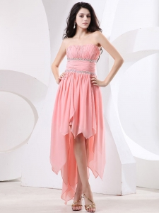 High-low Prom Dress With Pleated Beading Bodice For 2013