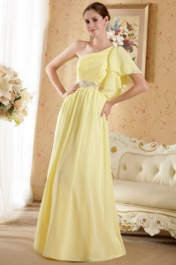 Yellow Ruffles One Shoulder Beading Prom / Evening Dress