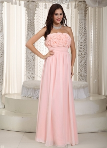 Empire Baby Pink Strapless Chiffon Hand Made Flowers Prom Dress