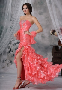 Watermelon Red Beaded Decorate Bust Ruffles High Slit Prom Dress