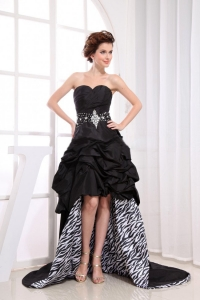 Black Sweetheart High-low Beaded Prom Dress With Pick-ups