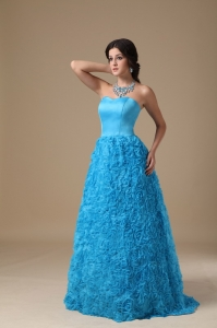 Strapless Blue A-line Floor-length Rolling Flower Prom Dress