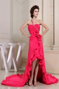Coral Red High-low Prom Dress With One Shoulder Hand Made Flowers