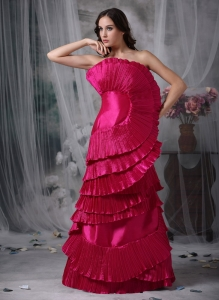 Unique Hot Pink Strapless Elastic Woven Satin Ruch Prom Dress