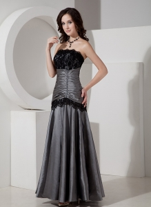 Grey A-Line / Princess Strapless Taffeta Lace Prom Dress