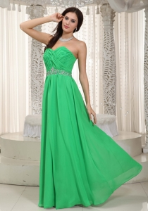 Spring Green Empire Sweetheart Chiffon Ruch and Beading Prom Dress
