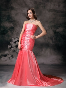Watermelon Red Mermaid Strapless Chapel Taffeta Ruch Prom Dress