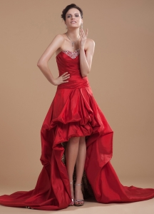 Red High-low Prom Dress Beaded Sweetheart Pick-ups Court Train