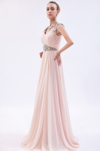 Baby Pink Empire Beaded Straps Prom Dress Brush Train Chiffon