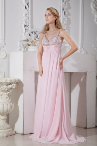 Beaded Straps and BustB aby Pink Brush Train Chiffon Prom Dress