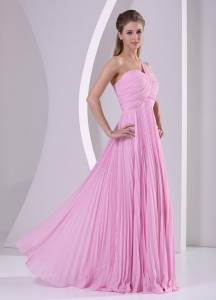 One Shoulder Pleat Baby Pink Chiffon Brush Train Prom Dress
