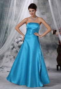 Teal Beaded Strapless Satin Prom / Evening dress With Sash