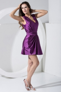 Beaded Purple V-neck Mini-length Prom Dress For Formal Evening