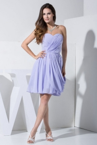 Beautiful Strapless Lilac Ruch Knee-length Prom / Cocktail Dress