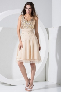 V-neck Champagne Prom / Cocktail Dress Sequins Knee-length Chiffon