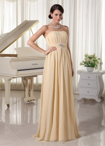 Champagne Strapless Chiffon Prom Dress Empire Ruch and Beading
