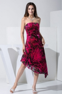 Colorful Printed Strapless Asymmetrical Prom Dress For Formal