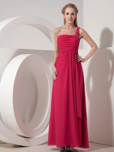 Coral Red Column One Shoulder Chiffon Ruch Prom Dress