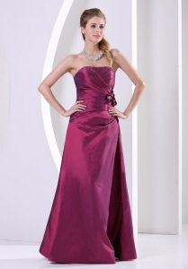 Purple A-line Taffeta Hand Made Flowers and Beading Prom Dress