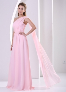 Baby Pink One Shoulder Watteau Train Ruched Chiffon Prom Dress