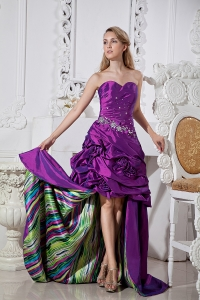 Beaded Eggplant Purple High-low Hand Made Flowers Prom Dress