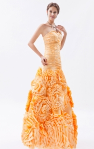 Gold Column Sweetheart Rolling Flower Ruch Prom Dress For Formal