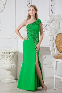 One Shoulder Green Beading Ruch Satin High Slit Prom Dress