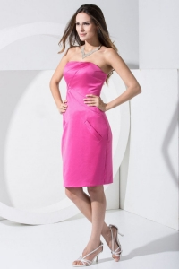 Hot Pink Strapless Satin Prom Dress For 2013 Knee-length