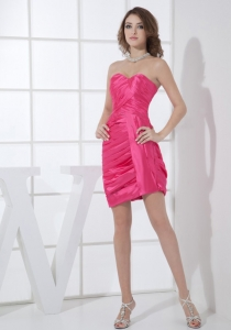 Mini-length Hot Pink Sweetheart Neckline Ruching Prom Dress