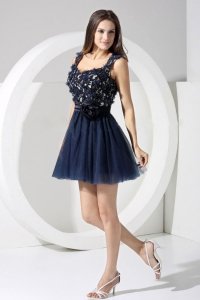 Lace Navy Blue Straps Backless Short Prom Dress Hand flowers