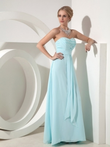 Light Blue Column Sweetheart Chiffon Prom Dress Sleeveless