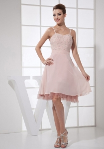 Straps Light Pink Beaded Bodice Straps knee-length Prom Dress