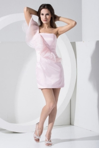 One Shoulder Light Column Pink Cocktail Dress Mini-length For Club