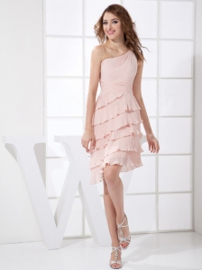 Light Pink One Shoulder Pleat Knee-length Chiffon Prom Dress
