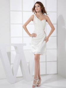 White One Shoulder Chiffon Mini-length Prom / Cocktail Dress