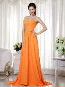 Orange Sweetheart Empire Brush Train Chiffon Ruch Prom Dress