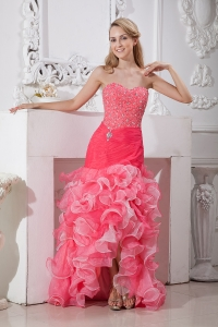 Mermaid Pink Sweetheart High-low Beading and Ruffles Prom Dress