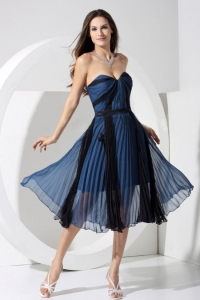 Blue and Black Sweetheart Pleat Prom Dress Tea-length Chiffon