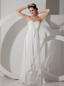 Empire White Sweetheart Brush Train Ruch Chiffon Wedding Dress