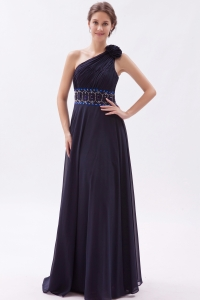 One Shoulder Purple Empire Chiffon Beading Waist Prom Dress
