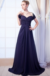 Square Neck Purple Empire Prom Dress Brush Train Beaded Chiffon