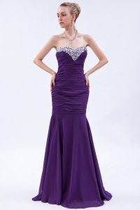 Mermaid Purple Sweetheart Chiffon Beading and Ruch Prom Dress
