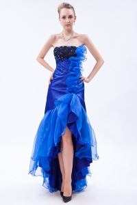 Strapless Royal Blue High-low Prom Dress Organza Appliques