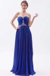 Royal Blue Empire Sweetheart Brush Train Chiffon Beaded Prom Dress