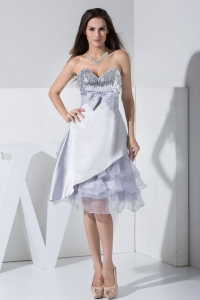 Sequin Bowknot silver Sweetheart Tea-length Ruffled Prom Dress