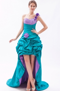 Teal One Shoulder Hand Made FLowers High-low Beading Prom Dress