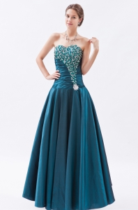 Turquoise A-line / Princess Sweetheart Tafeta Beading Prom Dress