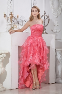 Watermelon Red Strapless High-low Ruffles and Beading Prom Dress