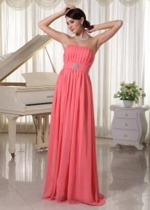 Empire Watermelon Red Chiffon Prom Dress With Beading and Ruch