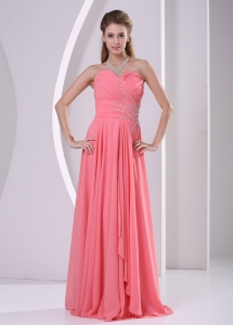 Sweetheart Watermelon Red Beaded Chiffon Dress For Prom Party